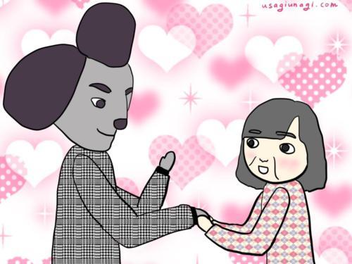 アイドルと握手している女性の絵